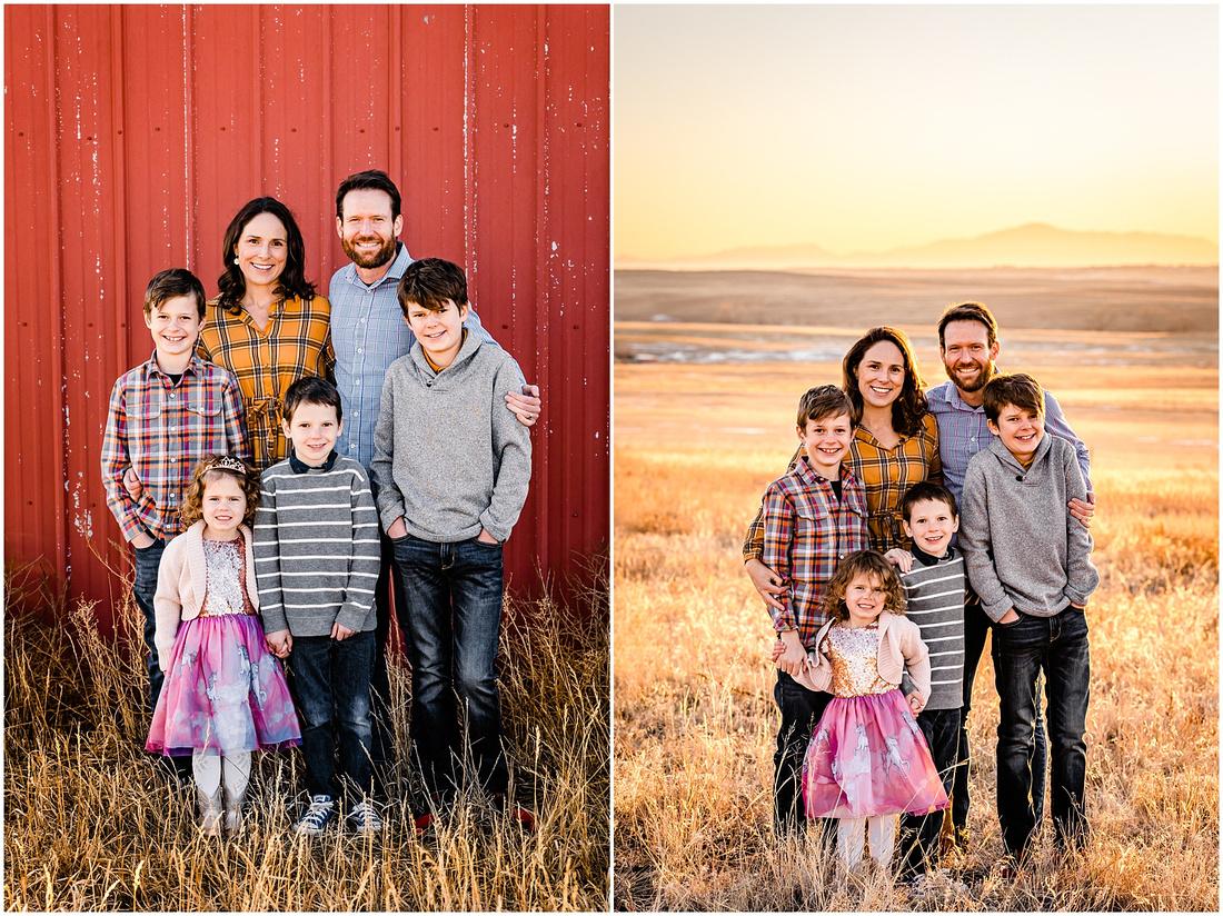 Family photos with 4 kids on a farm in Kiowa, Colorado