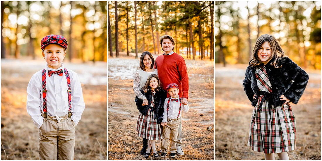 Winter family photos in a Colorado forest