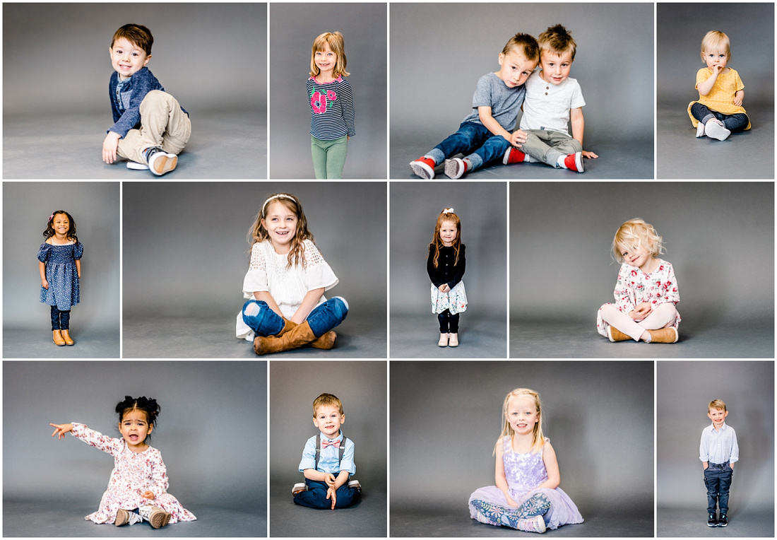 Collage of preschool photos with gray background