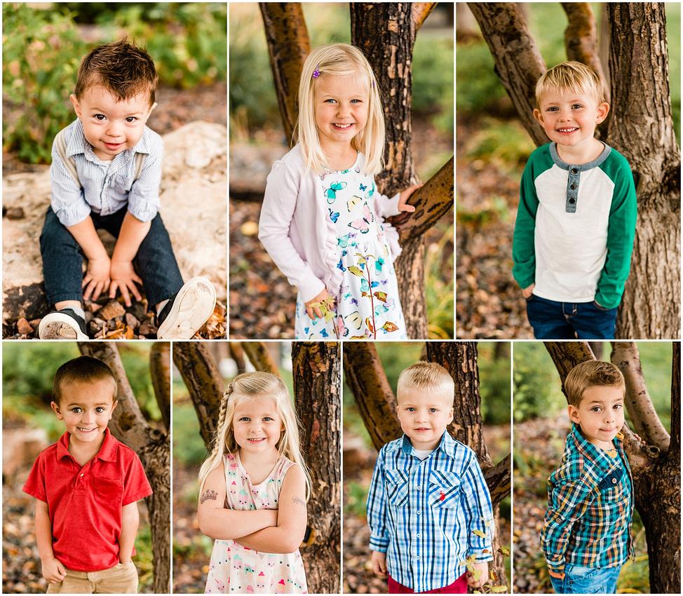 Collage of outdoor individual preschool photos