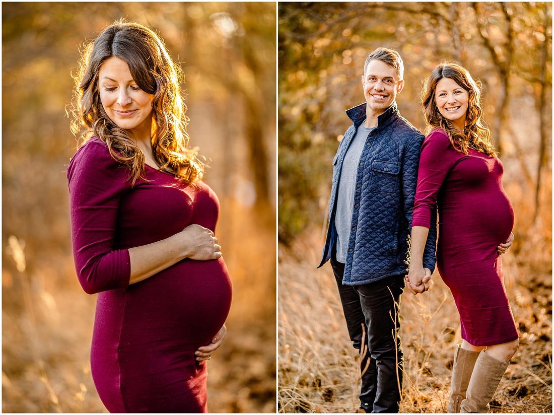 Winter maternity photos in Castle Rock Colorado