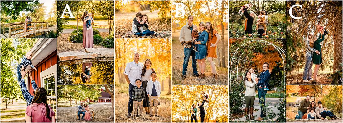 Collage of Colorado fall family photos