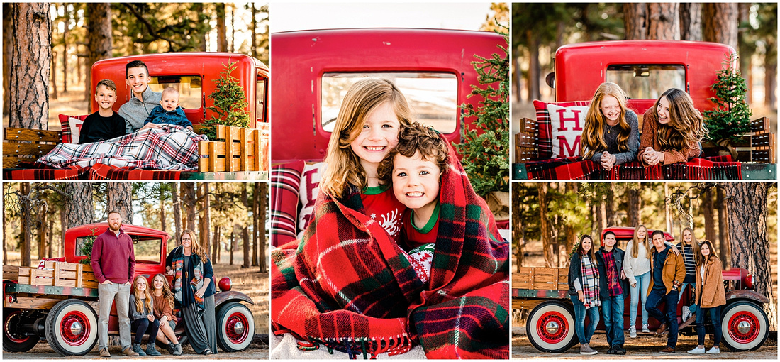 Collage of holiday red truck photos
