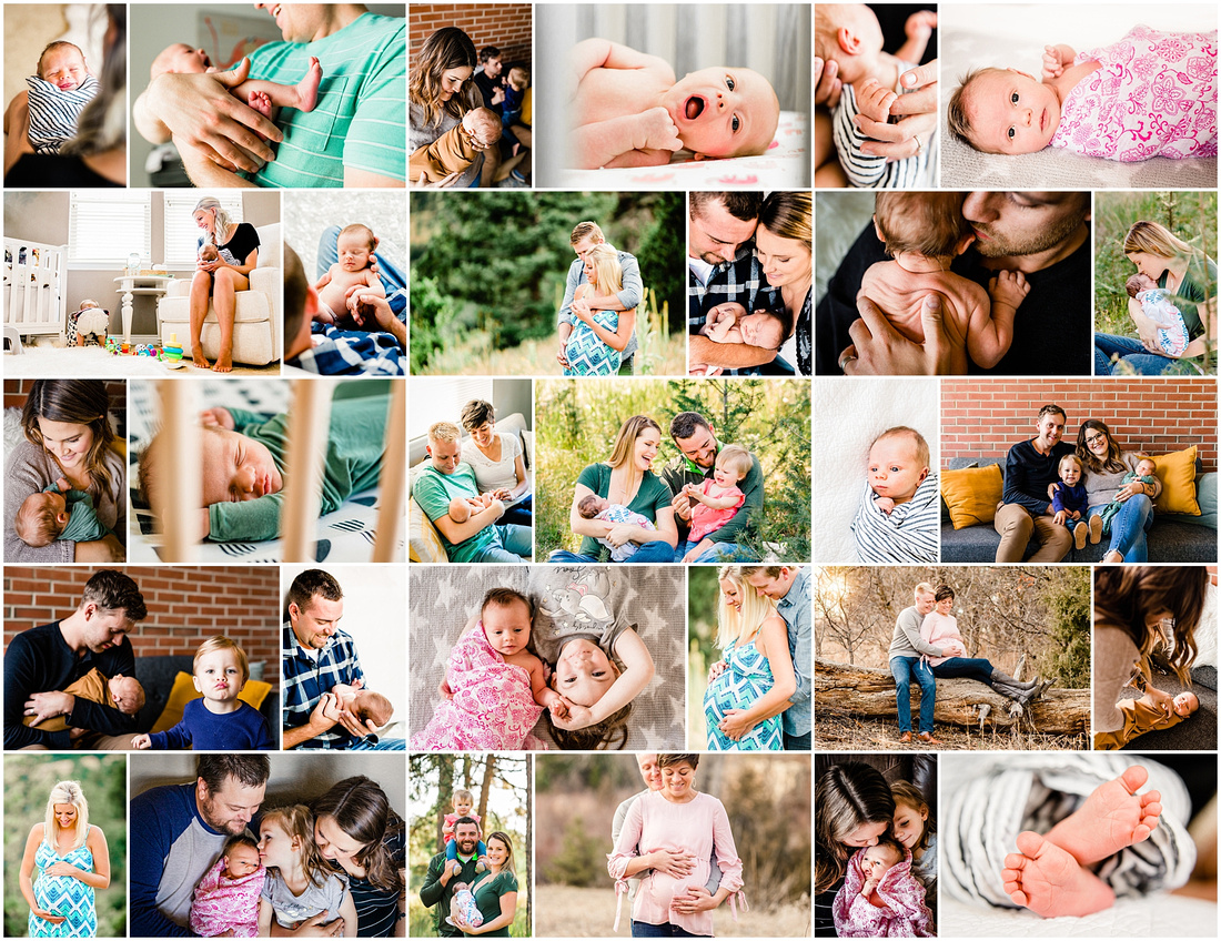 Collage of newborn and maternity photos