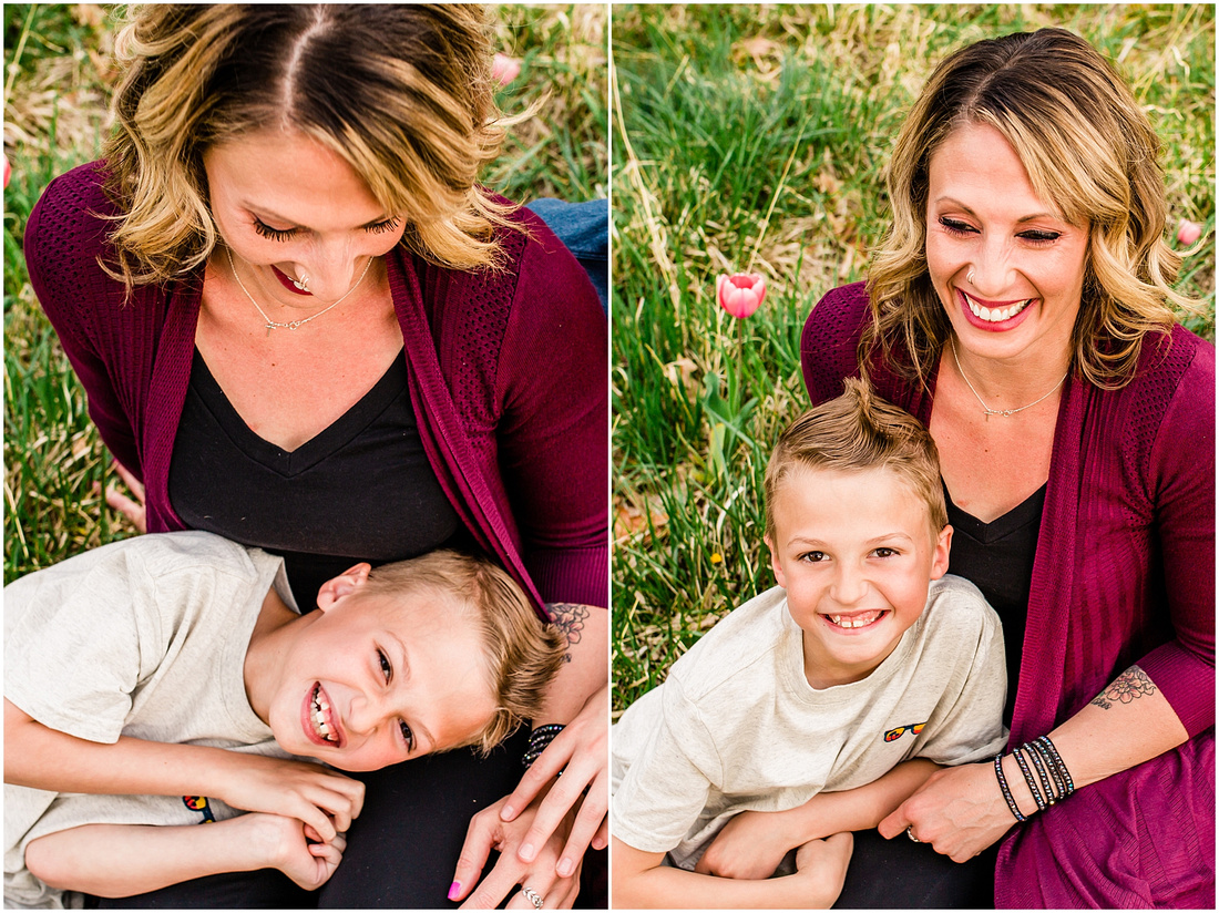 Mom with two sons in Littleton, Colorado garden