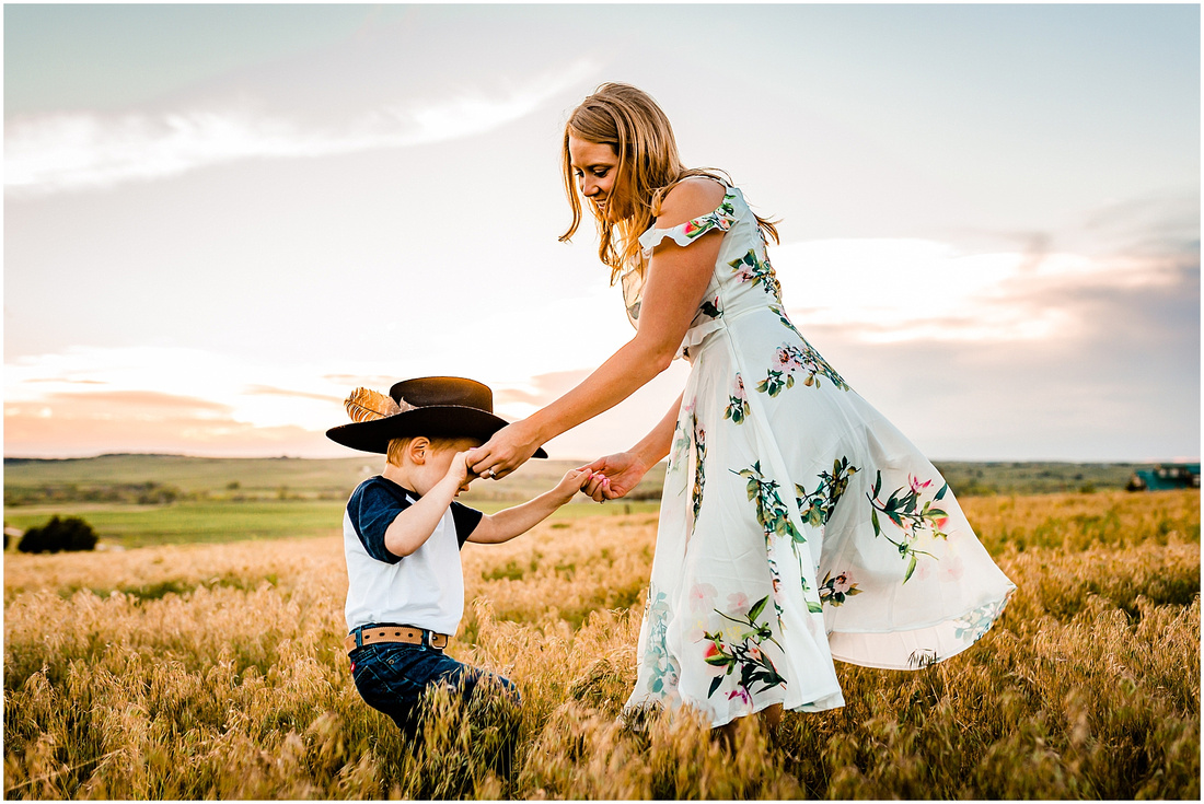 Country engagement photos including little boy.