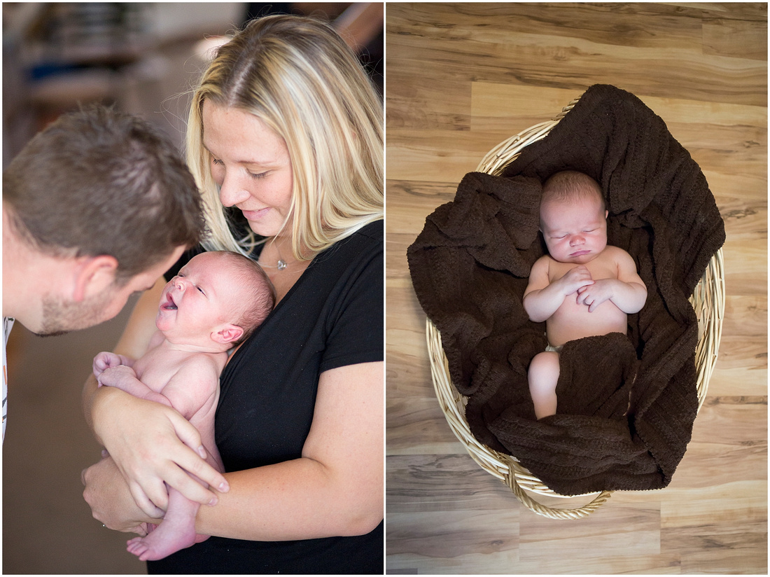 Newborn baby boy with his parents.