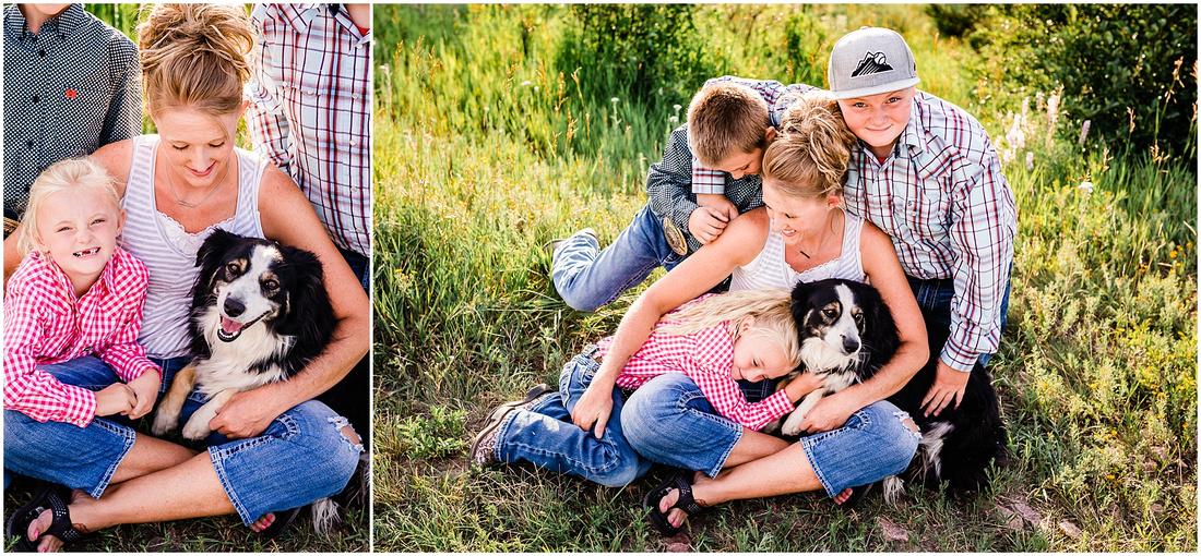 Family photos with mom, grandma, kids, and dog