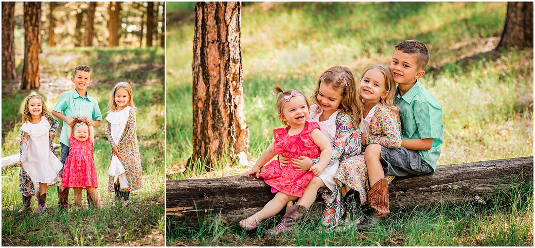 Four children photographed in the forest
