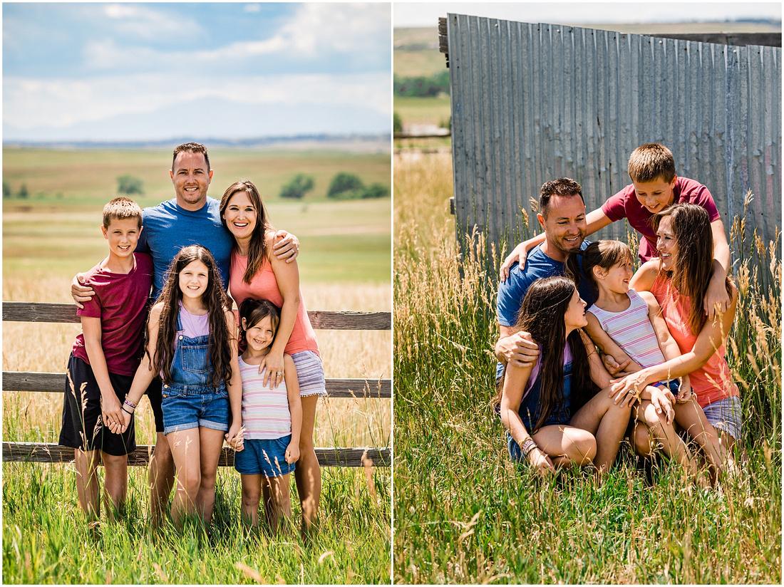 Photos of a family of five at a farm in Kiowa Colorado