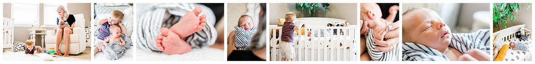 Lifestyle newborn photos including toddler sibling