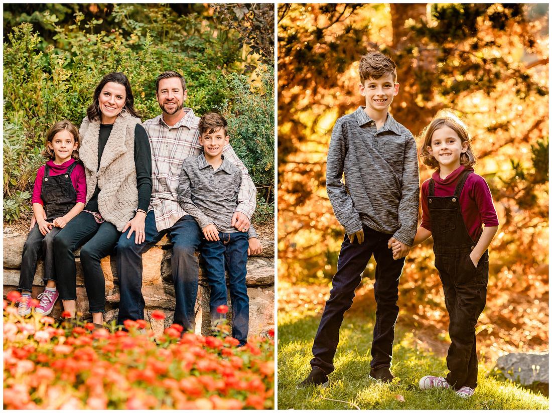 Family photos at Gallup Gardens in Littleton, Colorado