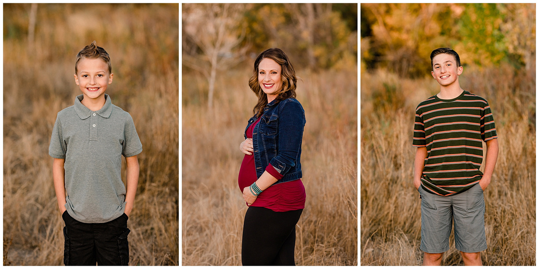Maternity and family fall photo session at McCabe Meadows in Parker, Colorado