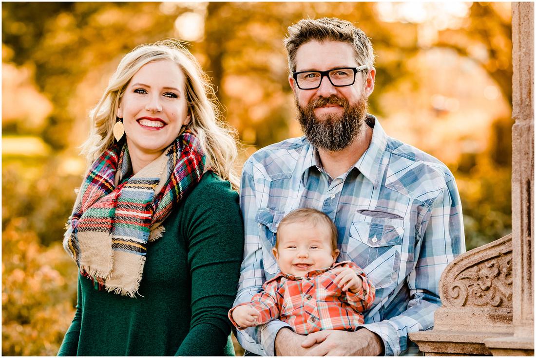 Fall family photos at the War Memorial Rose Garden in Littleton, Colorado