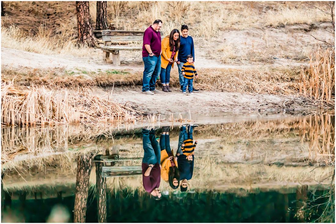 Winter family photos at Evans Park in Elizabeth, Colorado