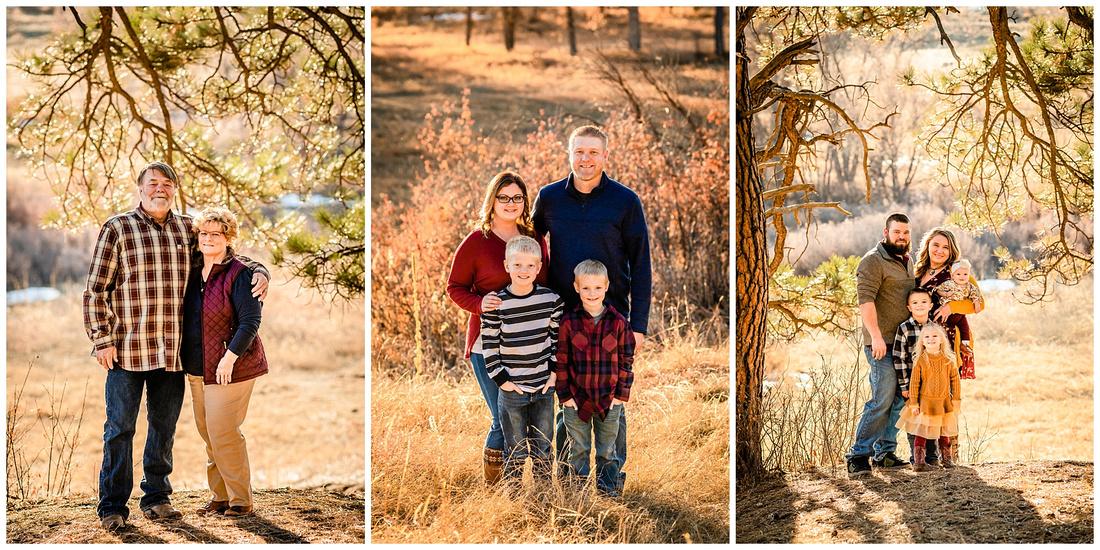 Extended family photos at Evans Park in Elizabeth, Colorado.