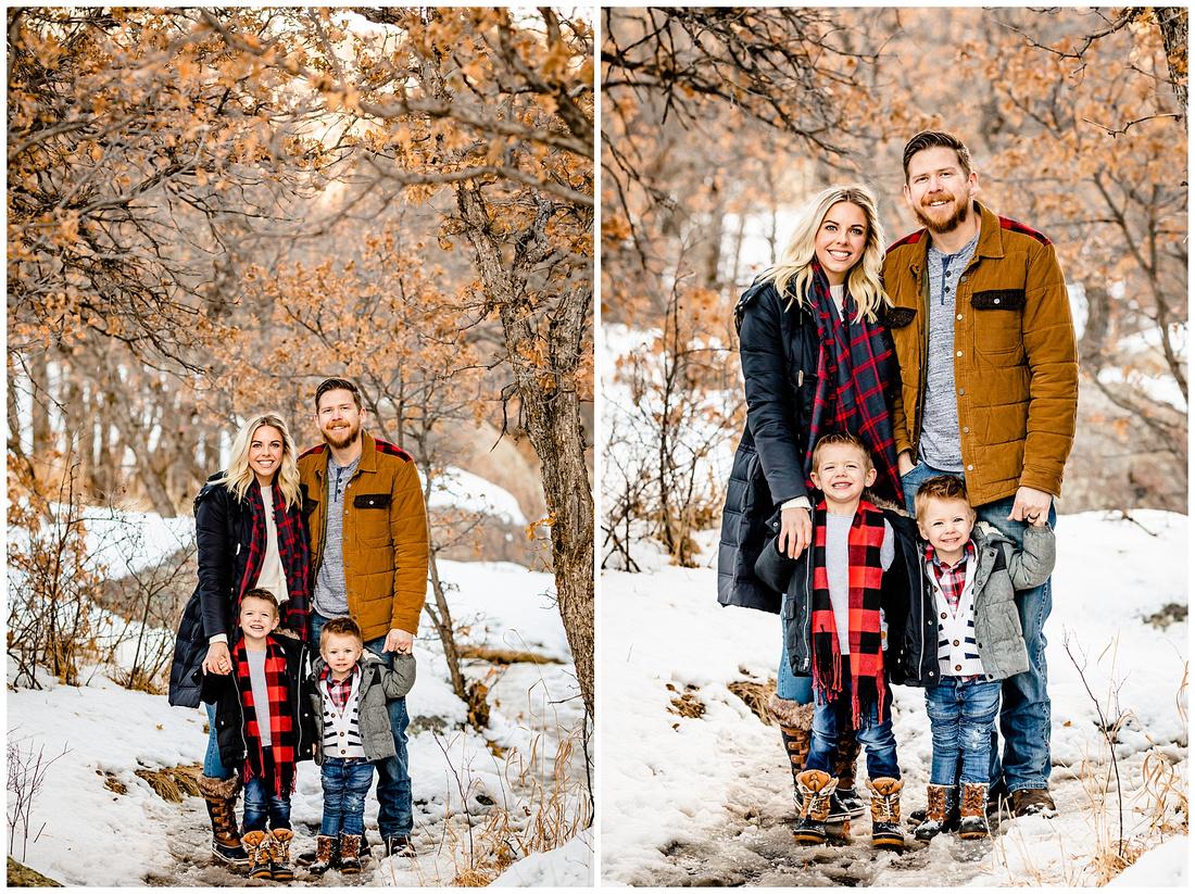 Colorado winter family photos with two young boys