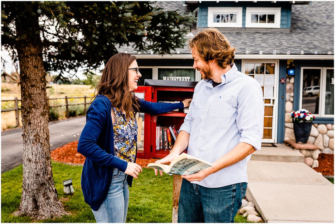photos of a couple in downtown Parker, Colorado