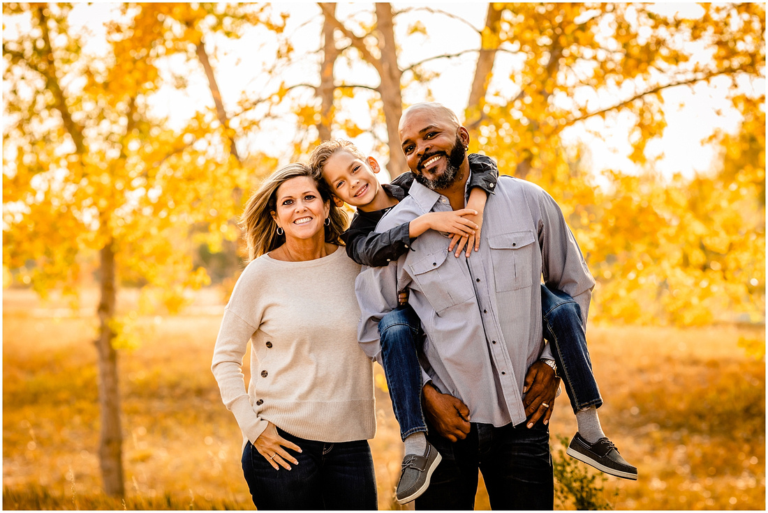 Family of three fall photos in Parker, Colorado