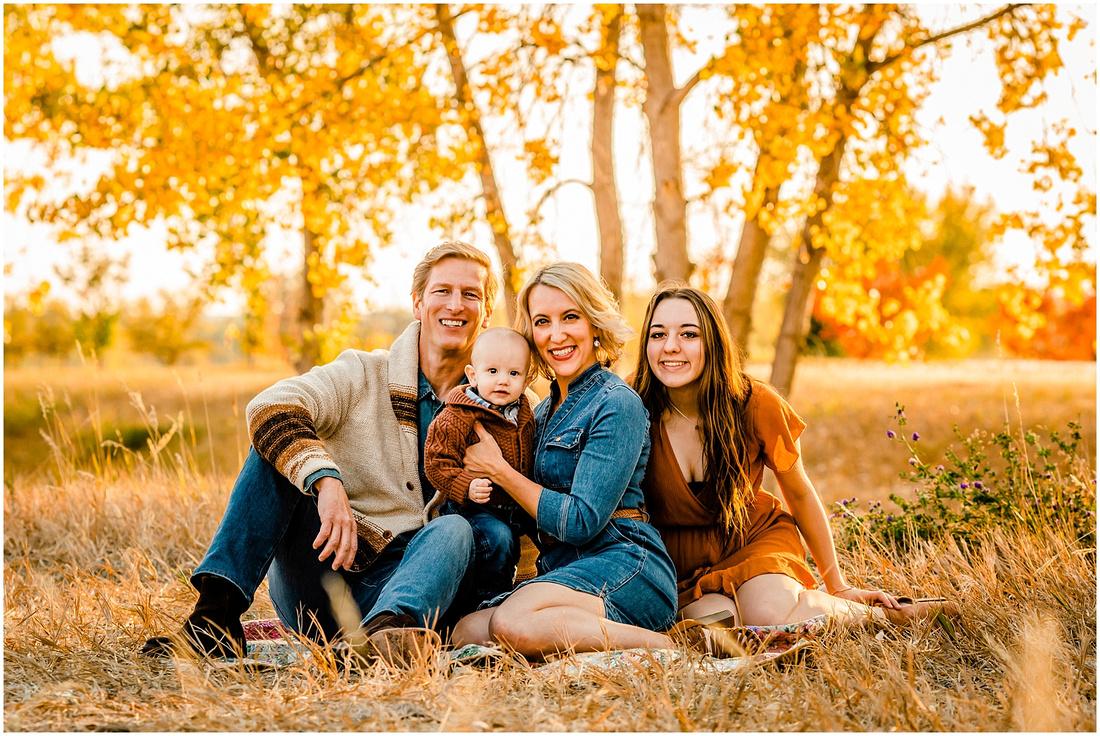 Family of four fall photos in Parker, Colorado