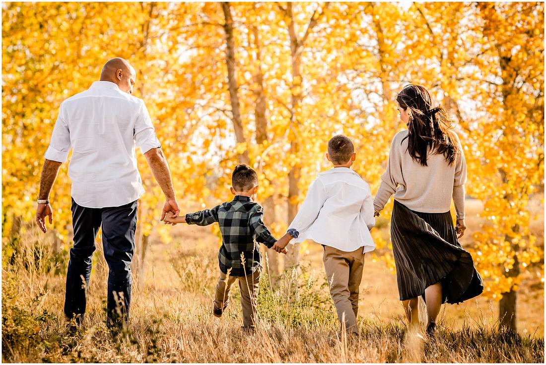 Family of three fall photos in Parker, Colorado